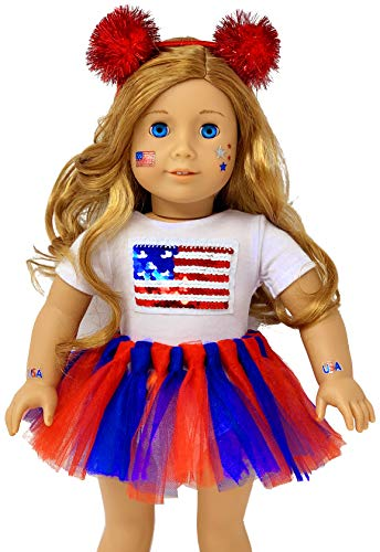 (My Genius Dolls USA Patriotic Doll Clothes. Fit 18 inch Dolls like Our Generation Doll My Life Doll American Girl Doll. Accessories | Reversible sequin USA flag, Tutu, Headband, Cute)