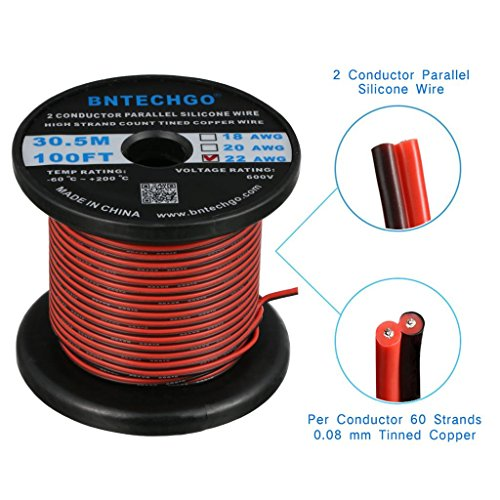 BNTECHGO 22 Gauge Flexible 2 Conductor Parallel Silicone Wire Spool Red Black High Resistant 200 deg C 600V for Single Color LED Strip Extension Cable Cord,Model,Lead Wire 100ft Stranded Copper Wire ()