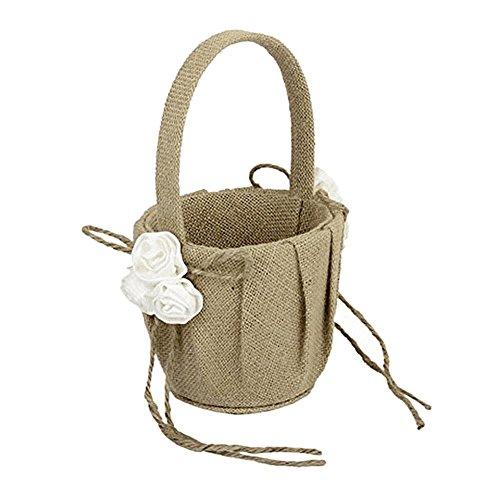 Oshide Natural Burlap Wedding Flower Girl Basket Handmade Fl