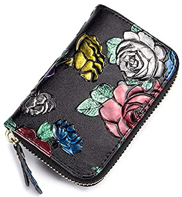 Women's RFID Blocking Genuine Leather Floral Secure Card Holder Zipper Wallet