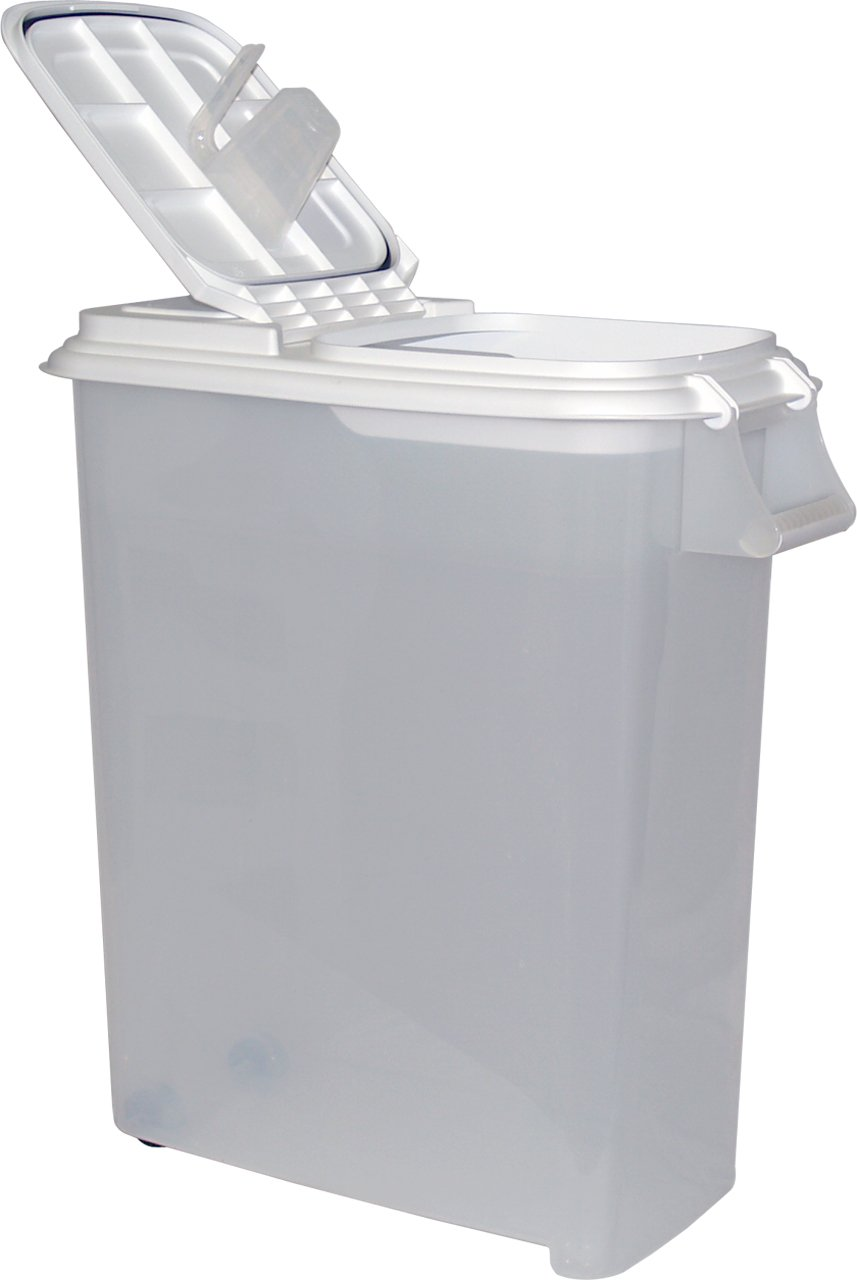 Buddeez XXLarge (80QT) Fresh Dry Dog & Cat Food Plastic Storage Container With Locking Flip Lid, Measuring Scoop (1 Cup) and Wheels For Kibble, Bird Seed, Rice and Bulk Food BPA Free