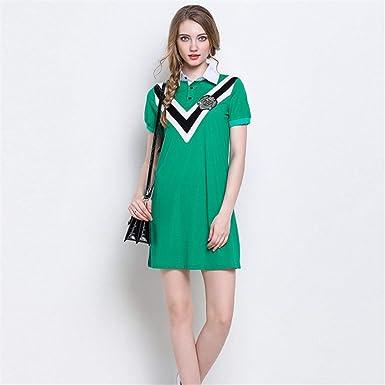 Vestido De Camiseta Costura Delgada De Manga Corta Polo Falda L ...
