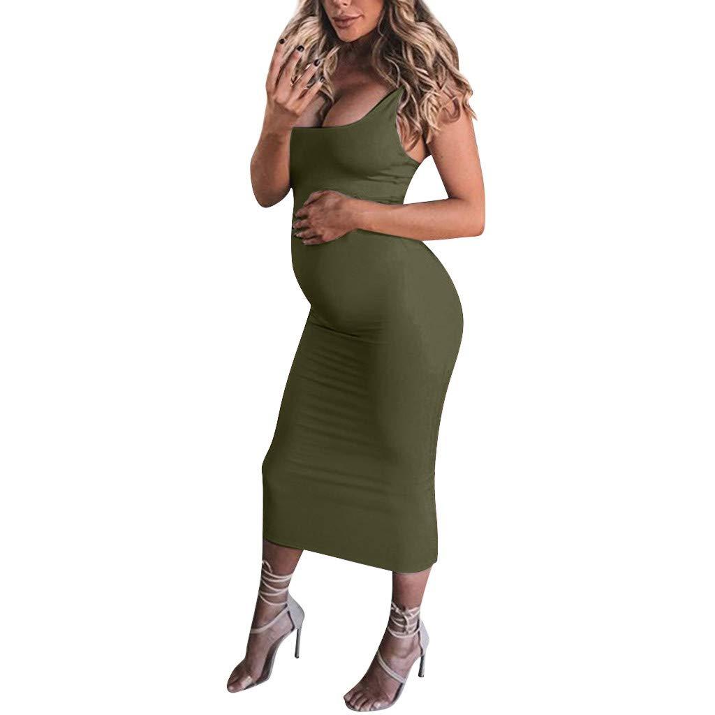 Winsummer Sexy Maternity Tank Bodycon Dress Summer Sleeveless Mama Maxi Dress Pregnancy Baby Shower Dress Green