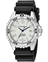 Momentum Womens Quartz Stainless Steel and Rubber Diving Watch, Color:Black (Model: 1M-DN11WS1B)