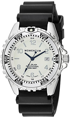 Momentum Women's Quartz Stainless Steel and Rubber Diving Watch, Color:Black (Model: 1M-DN11WS1B)