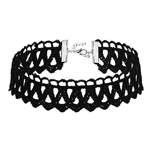 KnSam Ras du Cou Choker Collier Acier Inoxydable Dentelle Gothique Large Stretch Classique Noir