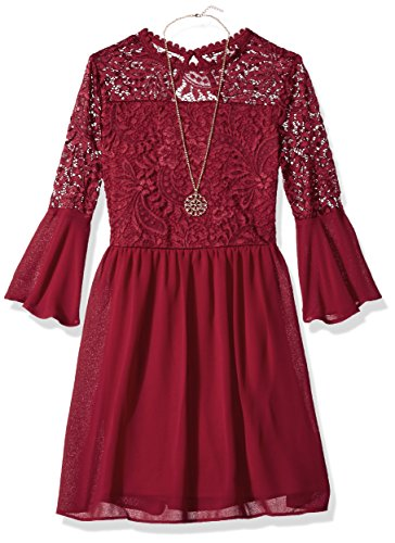 Amy Byer Big Girls' Bell Sleeve Dress with Lace Bodice, Bordeaux, (Girls Fall Dress)