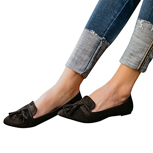Ballerine Da Donna Nappa Mocassino Cut Out Slip On Camoscio Scarpe A Punta Slip On A-black