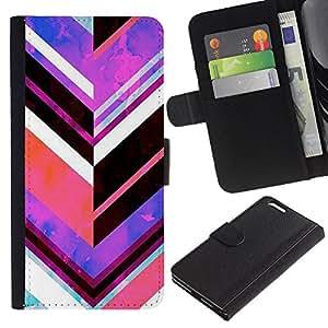 KLONGSHOP / Tirón de la caja Cartera de cuero con ranuras para tarjetas - Purple Abstract Lines - Apple iPhone 6 PLUS 5.5