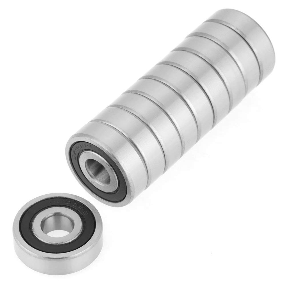 Pack of 10 6200-2RS Deep Groove Ball Bearings 10x30x9 mm Rubber Seals Radial Bearings for Mechanical Equipment Electric Instruments Toys