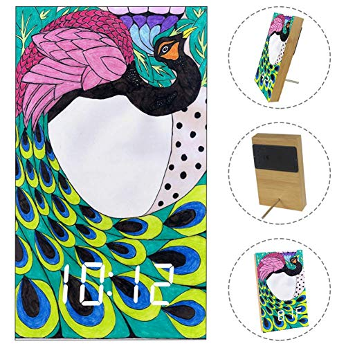 LORVIES Peacock Art Nouveau by Sonjal On Clipart Library Desk Digital Clock LED Display Table Alarm Clock with USB Powered and Battery Operated