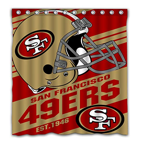 (Potteroy San Francisco 49ers Team Stripe Design Shower Curtain Waterproof Polyester Fabric 66x72 Inches)