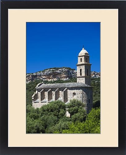 Framed Print of France, Corsica, Haute-Corse Department, Le Cap Corse, Patrimonio, elevated view by Fine Art Storehouse