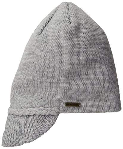 U.S. Polo Assn. Women's Flat Beanie with Knitted Visor, Heather Grey, One Size Block Knitted Hat
