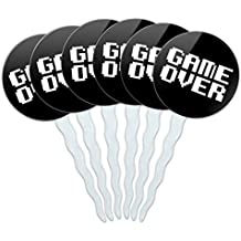 Set of 6 Cupcake Picks Toppers Decoration Sports and Hobbies - Game Over Gamer Pixel Font Geek