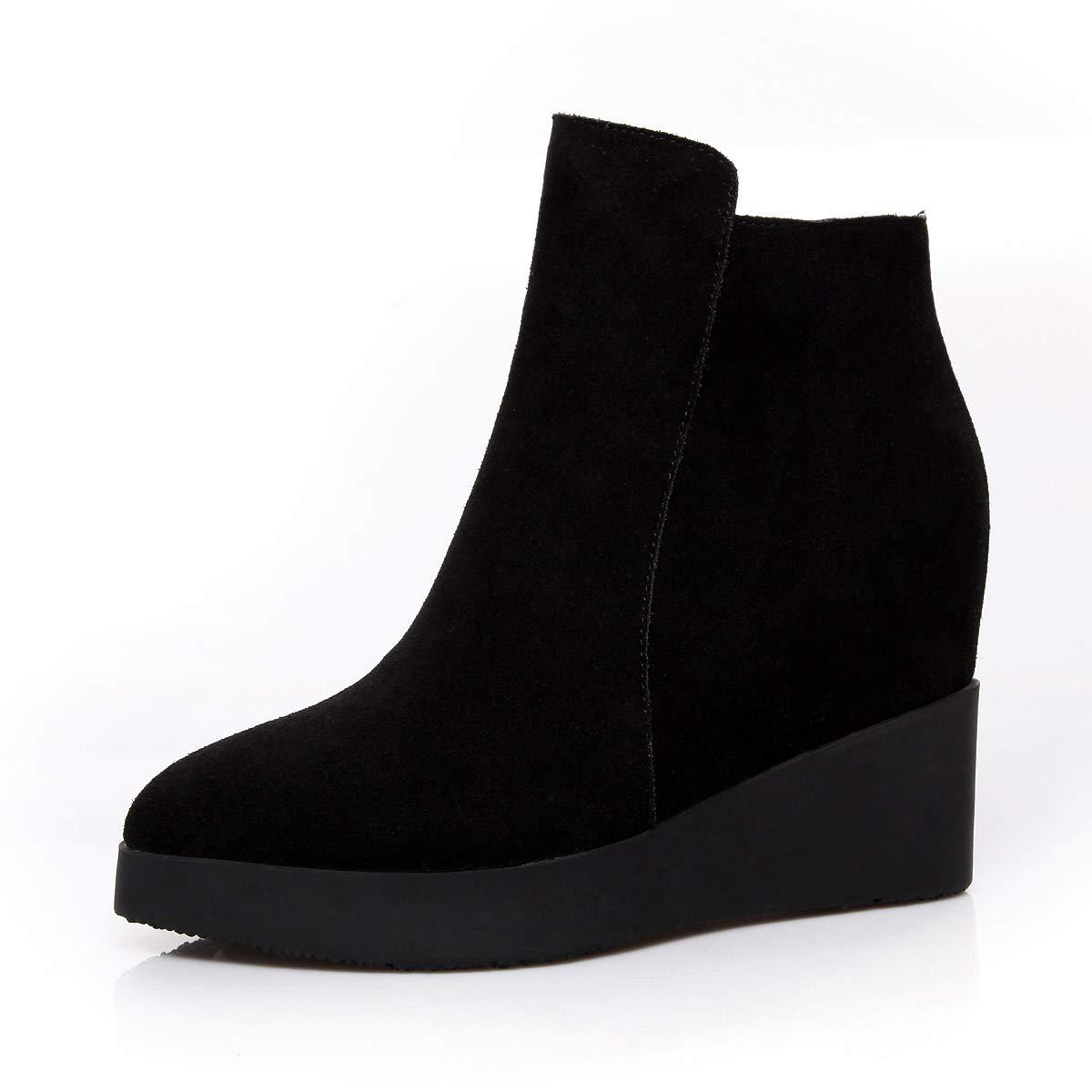 Shukun Stiefeletten Herbst und Winter Frauen Schuhe bereift PU Stiefel Frauen erhöhte weibliche Stiefel dünne Stiefel Martin Stiefel Frauen