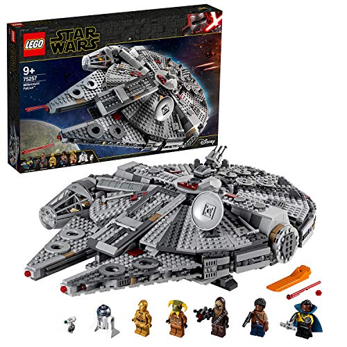 LEGO 75257 Star Wars Millennium Falcon Starship Construction Set, with Finn, Chewbacca, Lando Calrissian, Boolio, C-3PO, R2-D2 and D-O, The Rise of Skywalker Collection, Multicolour
