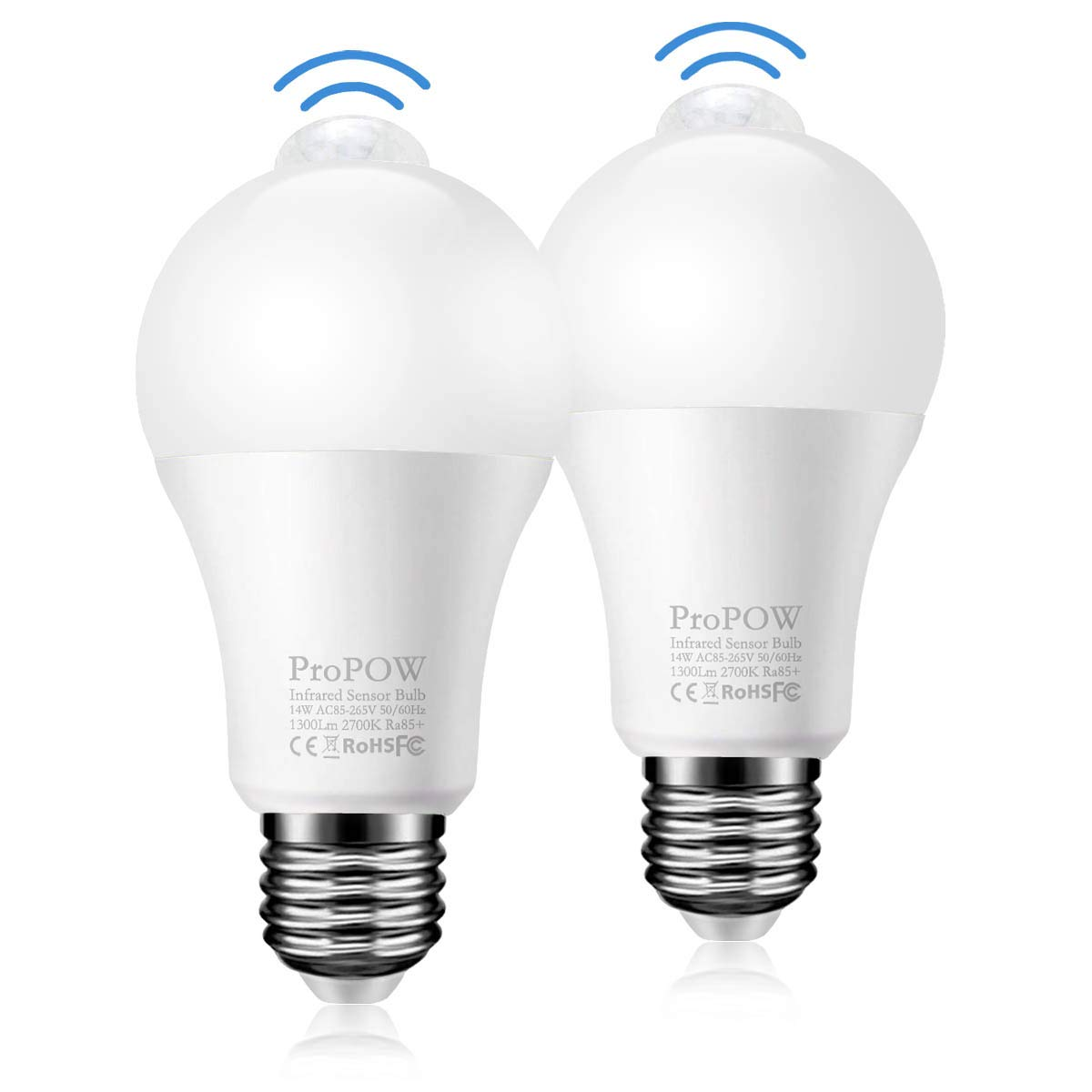 Motion Sensor Light Bulb,ProPOW 14W PIR LED Bulbs A19 E26 Smart Motion Detector Bulbs Auto on/Off Night Lights for Stairs,Garage,Corridor,Patio,Carports(1300lumen,Soft White,2 Pack)
