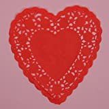 6 inch Red Heart Paper Doilies - 100 Pack