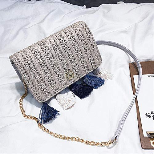 mujer y Bolso Beatie flecos bolsos Verano Bolso paja paja Bolso cadena con Playa de bolso Gris hombro 1xwIUq