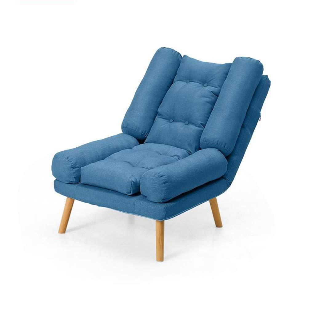 折り畳み式デッキチェアレジャーソファ椅子寝室リビングルームバルコニー用リクライニングチェアサンラウンジャードレッシングテーブルコンピュータチェア背もたれ椅子 (Color : Dark blue) B07T72RP2S Dark blue