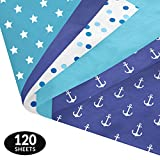 Blue Party Gift Wrapping Tissue Paper Set - 120 Sheets - Patterned and Solid Color