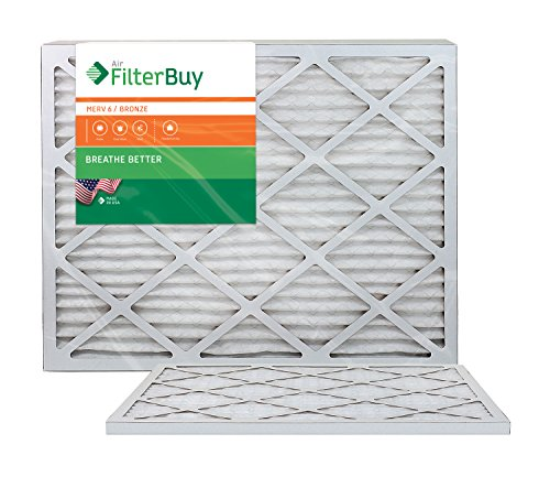 AFB Bronze MERV 6 15x30x1 Pleated AC Furnace Air Filter. Pack of 2 Filters. 100% produced in the USA.