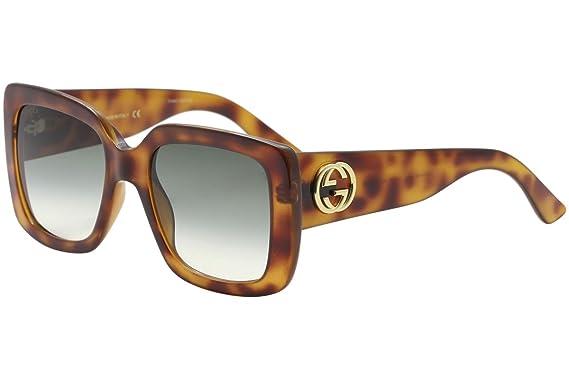 f66f37f73c Amazon.com  Gucci GG0141S 002 Havana Square Sunglasses  Clothing