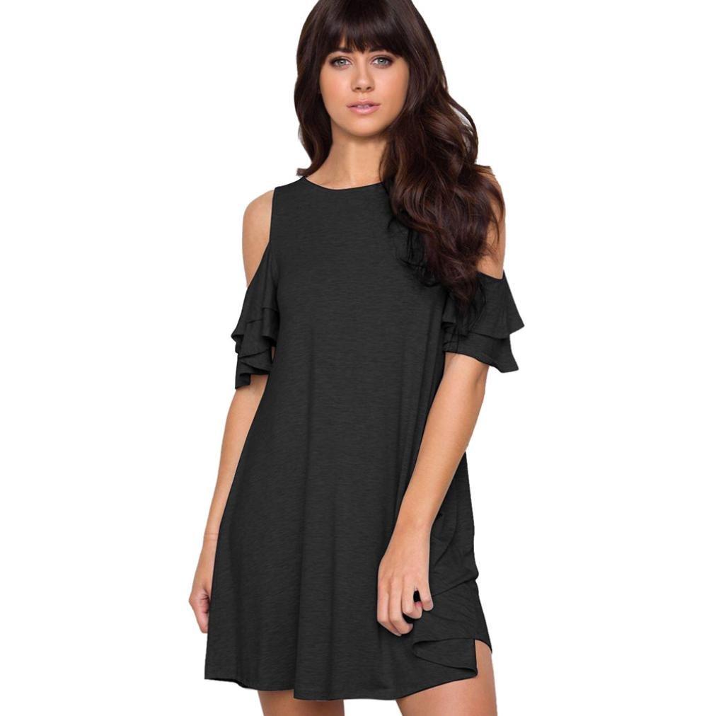 Fuibo Damen Kleid, Frauen Sommer Casual Kurzarm Rüschen Solid Off Shoulder Minikleid | Sommerkleid Abendkleid Partykleid Cocktailkleid