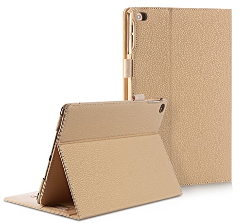 FYY Case for iPad Air 2 - Premium PU Leather Case Smart Auto Wake/Sleep Cover with Hand Strap, Card Slots, Pocket for iPad Air 2 Khaki