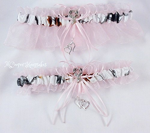 True Timber Snowfall Satin Camo & Light Pink Garter Set with Deer (Pink Camo Wedding Garters)