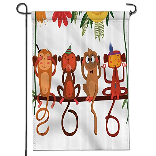 - Garden Flag Three Wise Monkeys Eastern Traditional Calendar Horoscopes Funny Chimpanzees Funky Digital House Flag Decoration Double Sided Flag -12
