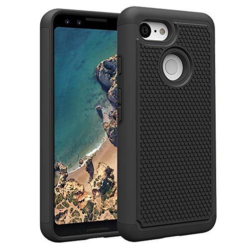 - Google Pixel 3 Phone Case with Tempered Glass Screen Protector Rugged Dual Layer Heavy Duty Protective Full Body Shockproof Rubber Cell Accessories Slim Hard Cover for Pixel3 Pixle 3 Women Girls