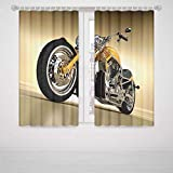 Paisley Blackout Curtains Motorcycle Iron Custom Aesthetic Hobby Motorbike Futuristic Modern Mirrors Riding Theme High-Precision Blackout CurtainYellow Silver