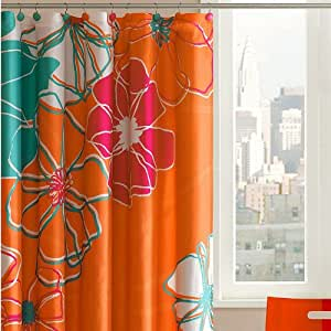 Madison Park Valencia Shower Curtain with Hooks - Orange - 72x72""
