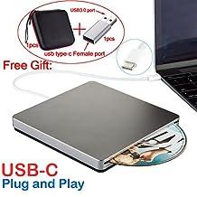 Confoly USB-C Superdrive External DVD/CD Rewriter Drive USB External DVD/CD Drive Burner for latest Mac Pro/MacBook Pro/ASUS U306UA/ASUS/DELL Latitude with USB-C Port (Grey)