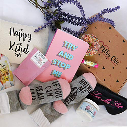 milky-chic-special-womens-birthday-gift-box-basket-set-for-mom-wife-sister-friend-pack-of-8-fun-unique-mothers-day-gifts