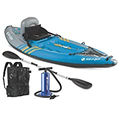 Get closer to the water and all the beauty swimming in it when you explore in a Sevylor K1 Sit-On-Top QuikPak Kayak. This inflatable watercraft works just like a traditional sit-on-top kayak, except when you're ready to pack up, it folds up i...