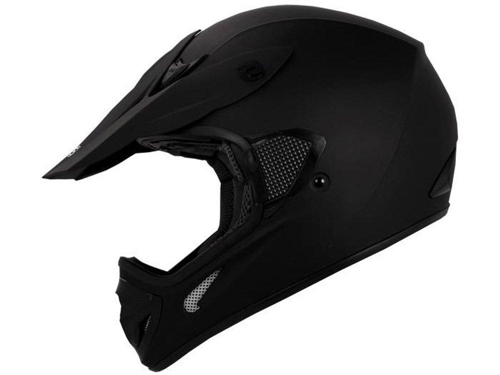 TMS Adult Flat Matte Black Motocross Dirt Bike ATV MX Off-road Helmet DOT