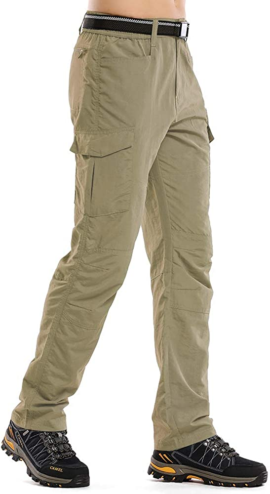 linlon Fulture Direct Mens Hiking Pants Quick Dry Lightweight Fishing Camping UPF 50+ Cargo Pants with Pockets,Khaki,29