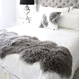 genuine grey Tibetan Mongolian Sheepskin lambskin bed scarf runner throw 24x71'' / 60x180cm single double queen bed