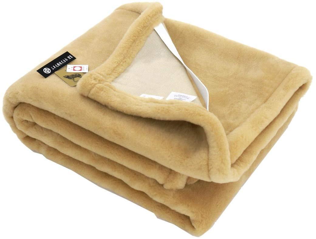 敷き シングルサイズ 公式三井毛織 丸洗いできる メリノウールマイヤー毛布 敷き パッド 100x205cm (ベージュ) B075QXCS1Y