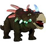Techege Battery Powered Triceratops Dinosaur Toy Realistic Sounds and Fun Lights, Walks and Roars!