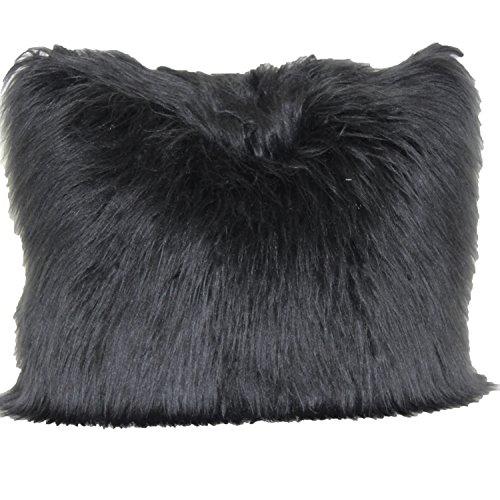Brentwood Originals 1055 Angora Fur 18 Inch Decorative Pillow, Black