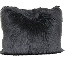 "Brentwood Originals 1055 Angora Fur 18"" Decorative Pillow, Black"