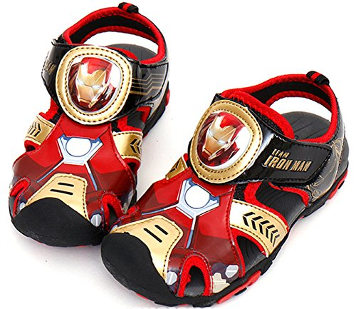 Marvel Avengers Iron Man Boys Black Light up Sandals (Toddler/Youth) (Parallel Import/Generic Product) (11 M US Little Kid) ()