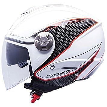 MT Casco de Moto Jet City-Eleven Dynamic-Casco para Moto Doble Pantalla, Color Blanco, (Blanco), Small: Amazon.es: Zapatos y complementos