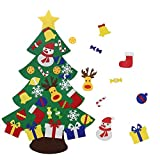 beautiful christmas decorations YEAHBEER Felt Christmas Tree for Kids,3.2FT DIY Christmas Tree with 30 Detachable Christmas Ornaments,Xmas Gifts, New Year Door Wall Hanging Decorations