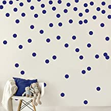 Dark Blue Navy Wall Decal Dots (200 Decals) | Easy Peel & Stick + Safe on Walls Paint | Removable Matte Vinyl Polka Dot Decor | Round Circle Art Glitter Sayings Sticker Large Paper Set Nursery Room