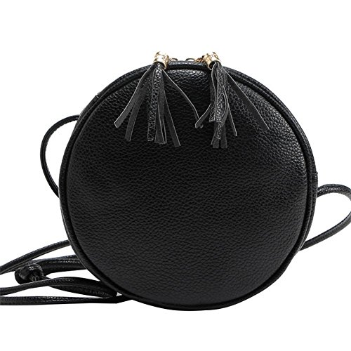 Badiya Mini Round Cross Body Bag PU Leather Double Tassel Pendant Shoulder Zipper Bag Black
